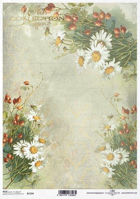 decoupage flores de papel, rosa silvestre, manzanilla*декупаж бумажные цветы, шиповник, ромашка*decoupage Papierblumen , wilde Rose, Kamille