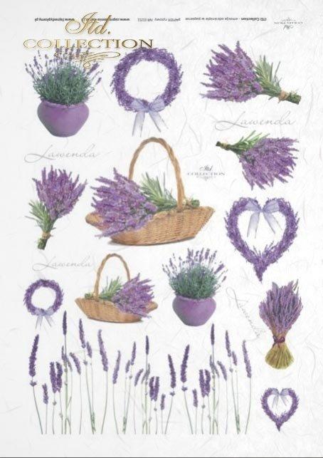 papier ryżowy do decopage - lawenda, lawendowe pole, kwiaty lawendy, lawendowe kwiaty, R0151