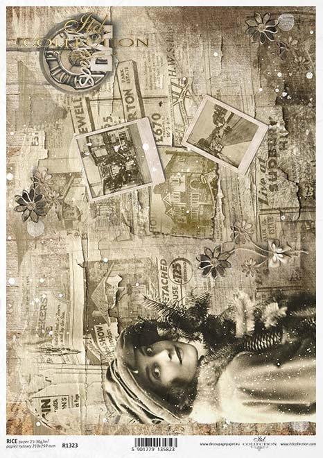 Papel de decoupage vintage, Sepia, periódicos, fotos*Винтажная бумага для декупажа, Сепия, газеты, фотографии*Vintage Decoupage Papier, Sepia, Zeitungen, Fotos