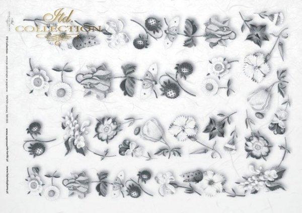 Reispapier Decoupage - Blumen, Früchte*Papel de arroz decoupage - flores, frutas*Rýžový papír decoupage - květiny, ovoce