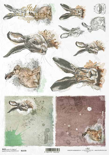 Papel decoupage de Pascua, granja feliz, conejos, liebres*Ostern Decoupage Papier, Happy Farm, Kaninchen, Hasen*Пасхальная бумага для декупажа, счастливая ферма, кролики, зайцы