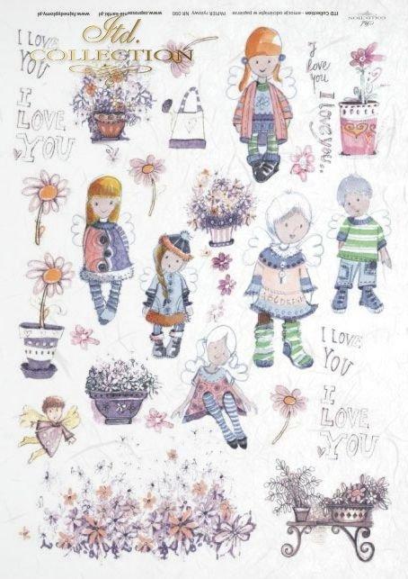 Kids, basket, Valentine's Day, heart, hearts, I love you, angel, angels, flower, flowers, Dorota Marciniak, R090