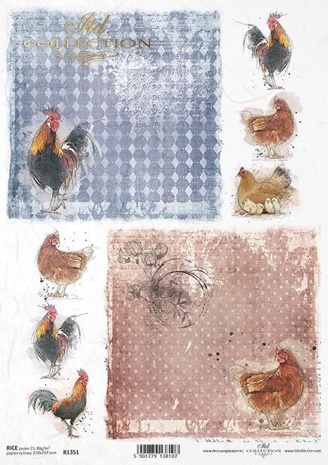 papel de arroz decoupage gallinas, pollos, gallos*Reispapier Decoupage, Hühner, Hähne*рисовая бумага декупаж цыплят, куры, петухи