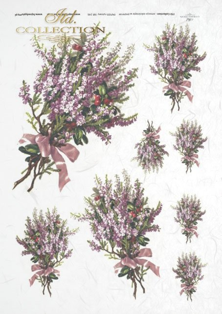 flowers, heather decoupage rice paper - flower arrangement, twigs, bouquets and single flower