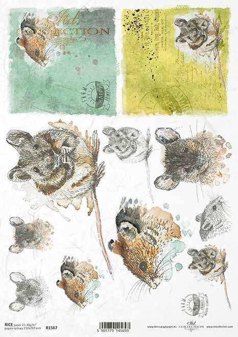 Papel decoupage de Pascua, granja feliz, ratones, ratón*Ostern-Decoupagepapier, glücklicher Bauernhof, Mäuse, Maus*Пасхальная бумага для декупажа, счастливая ферма, мышки, мышка