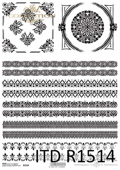 Papier ryżowy Vintage, ozdobne szlaczki, rameczki*Vintage rice paper, decorative patterns, frames