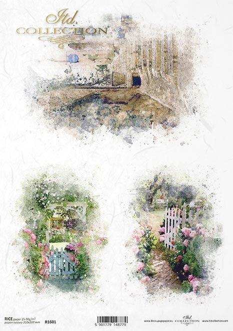 Acuarelas, jardines románticos, vistas idílicas. * Aquarelle, romantische Gärten, idyllische Ausblicke * Акварели, романтические сады, идиллические виды