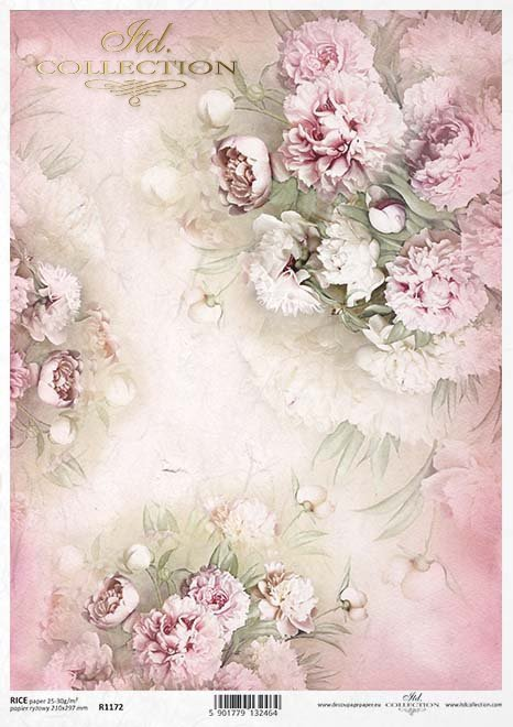 Rice Paper R1172 Paper For Decoupage Rice Peonies Flowers