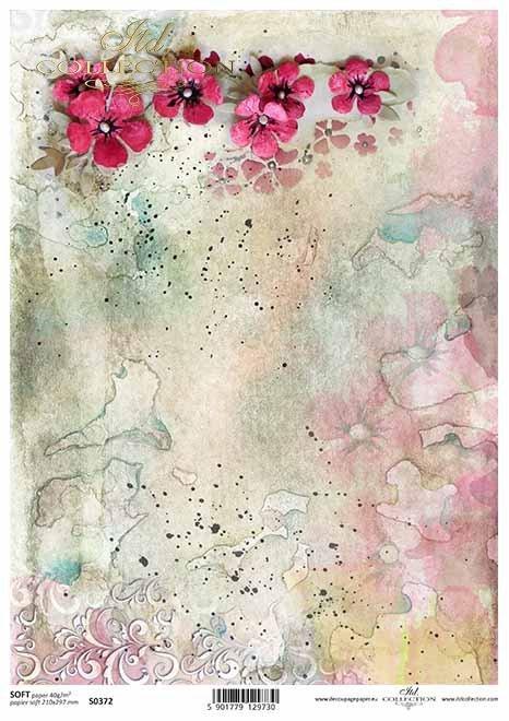 Papier-Decoupage-Blumen, bunte Aquarelle*flores de papel decoupage, coloridas acuarelas*бумага декупаж цветы, красочные акварели