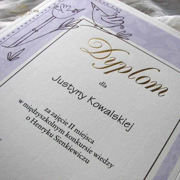 Diploma with gold letters