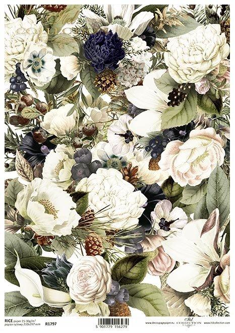 Nostalgia*Kwiaty, peonie, piwonie, szyszka, szyszki, anemon, magnolia, tło, tapeta, tło kwiatowe