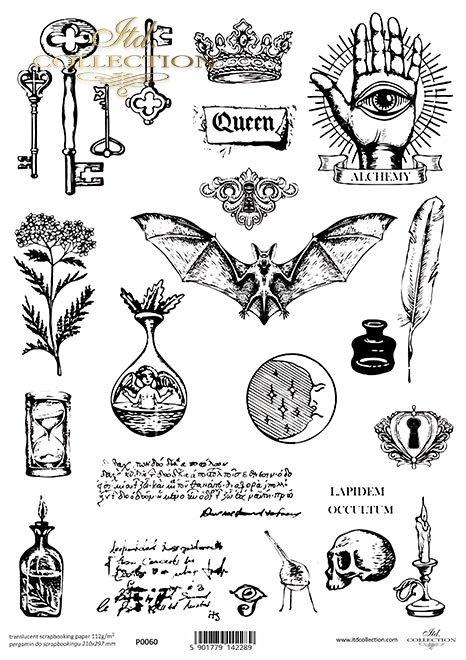 Pergamin do scrapbookingu, klucz, klucze, nietoperz, czaszka, czary, korona, dekory, alchemia, klepsydra, księżyc, kałamarz, symbole, okultyzm