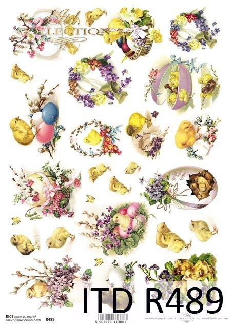 R 489 * jajka, wiosenne kwiatki, motylki, kurczaczki, wiosna, Wielkanoc, fiołki, bazie, kwitnące gałęzie drzew