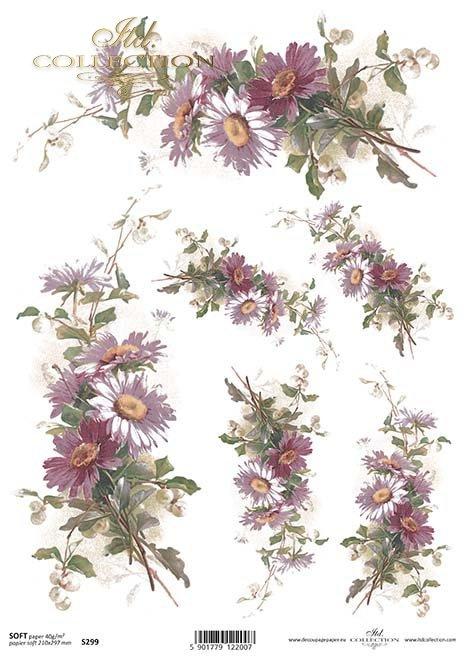 Decoupage Papier mit Blumen*decoupage de papel con flores*decoupage papír s květinami