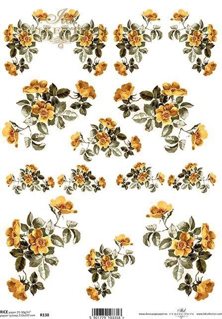 papier-ryżowy-kwiaty-pączki-liście-listki-róża-róże-ogród-R0138