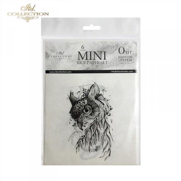 Zestaw papierów ryżowych ITD - RSM012 * Tatuaże Moniki Dutkiewicz Art * sowa, tygrys, motyl, kot, czaszki, twarz