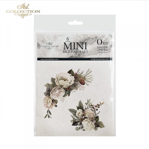 Zestaw papierów ryżowych ITD - RSM027 * Kwiaty, kwiatki, anemony, peonie, szyszki, wianki, kompozycje kwiatowe