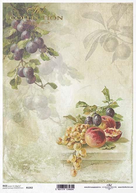 Decoupage de papel de frutas, uvas, ciruelas, melocotones*Papier decoupage Früchte, Trauben, Pflaumen, Pfirsiche*Бумажные декупаж фрукты, виноград, сливы, персики