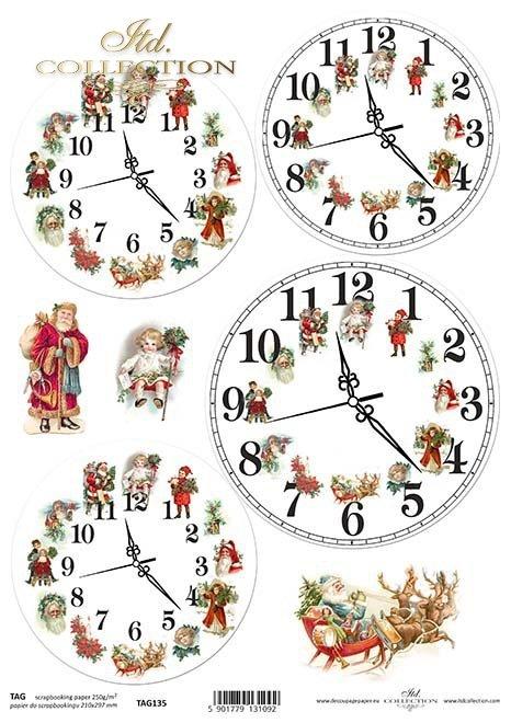 Papier für das Scrapbooking, Weihnachtsuhren*papír pro scrapbooking, vánoční hodiny*papel para álbum de recortes, los relojes de Navidad