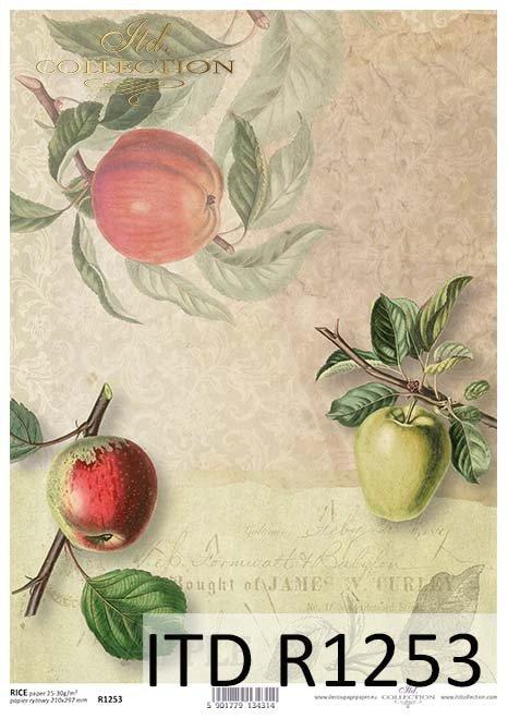 papier decoupage owoce, jabłka*Paper decoupage fruits, apples