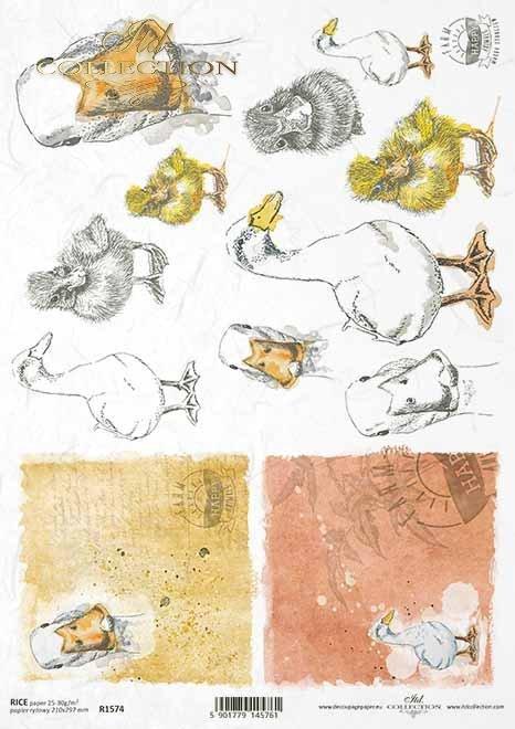 Papel decoupage de Pascua, granja feliz, patos, gansos*Ostern Decoupage Papier, Happy Farm, Enten, Gänse*Пасхальная бумага для декупажа, счастливая ферма, утки, гуси