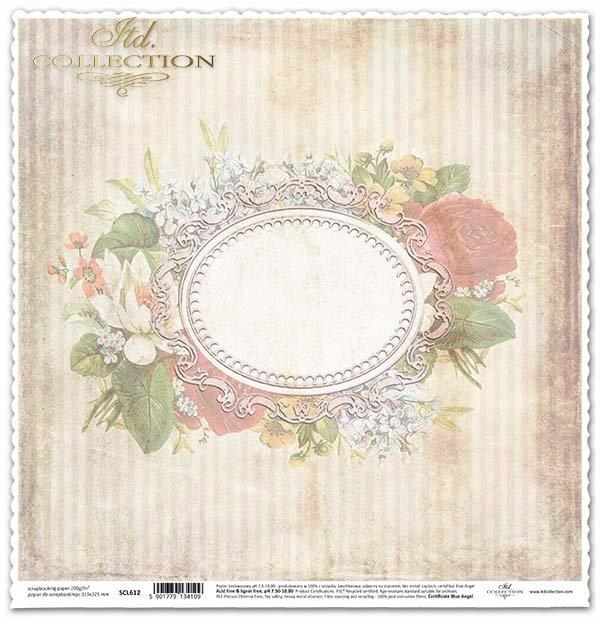 papel para scrapbooking, marco decorativo, flores*Papier für das Scrapbooking, dekorative Rahmen, Blumen*бумага для скрапбукинга, декоративная рамка, цветы