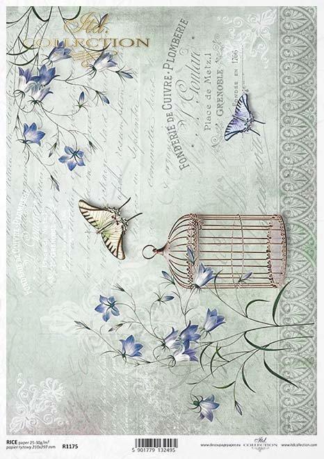 mariposas de papel decoupage, jaula de pájaros*Decoupage Papier Schmetterlinge, Vogelkäfig