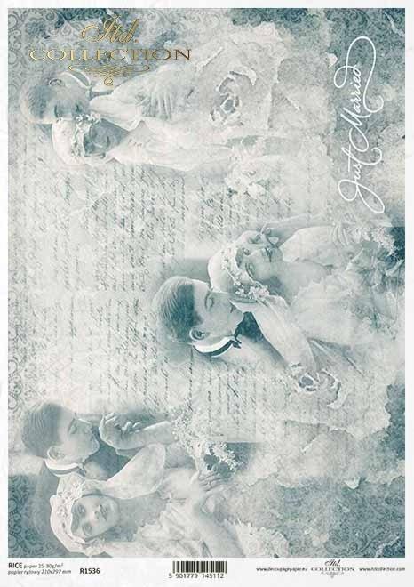 Papier-decoupage-retro-młoda-para-nowożeńcy-zakochani-ślubny-kolaż-Paper-decoupage-retro-young-couple-lovers-wedding