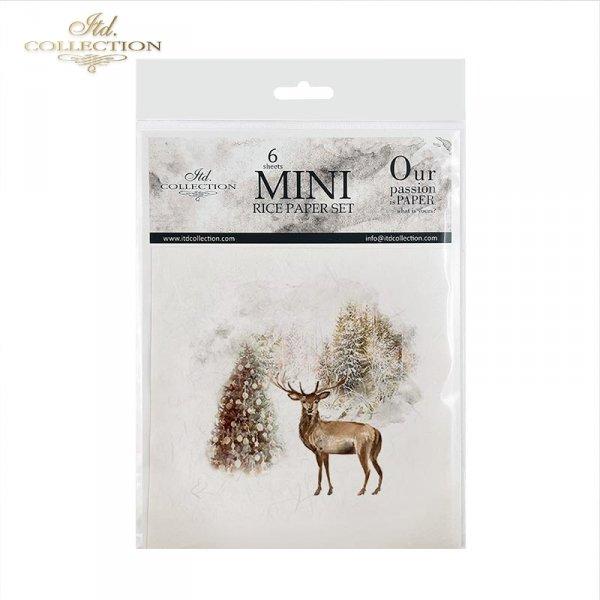Zestaw papierów ryżowych ITD - RSM026 * Zimowe zwierzęta, jeleń, sarny, choinki, zimowe drzewka, ptaki, lis, zimowe obrazki