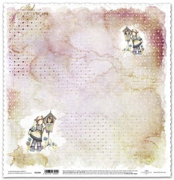 Papel de doble cara para scrapbooking con ángeles*Doppelseitiges Papier für das Scrapbooking mit Engeln*Двусторонняя бумага для скрапбукинга с ангелами