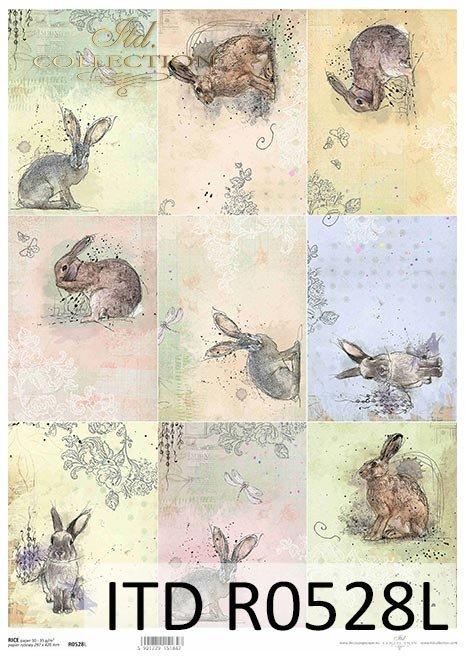 Pastelle, Anhänger, Hasen, Kaninchen, Ostern, kleine Bilder*Pasteles, etiquetas, liebres, conejos, Pascua, pequeños dibujos*Пастель, бирки, зайцы, кролики, Пасха, маленькие картинки