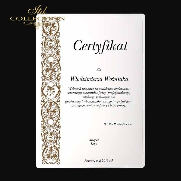 dyplom DS0334 certyfikat