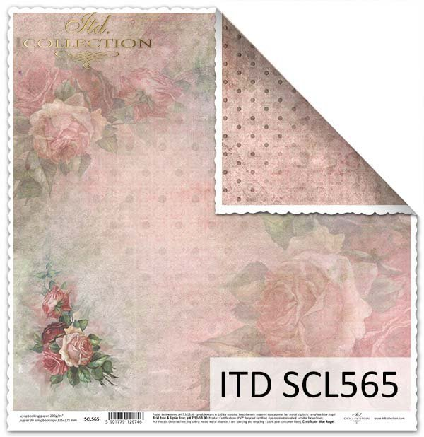 Papier dwustronny do scrapbookingu-róże*Paper-sided scrapbooking roses