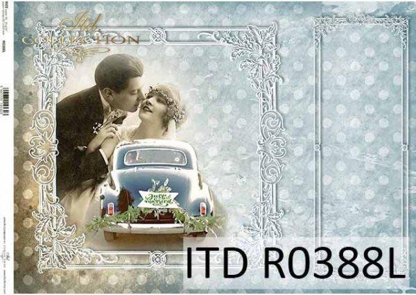 Papier decoupage Młoda Para, samochód do ślubu, ozdobne białe ramki, Vintage*Decoupage paper. Young Couple, wedding car, decorative white frame, Vintage
