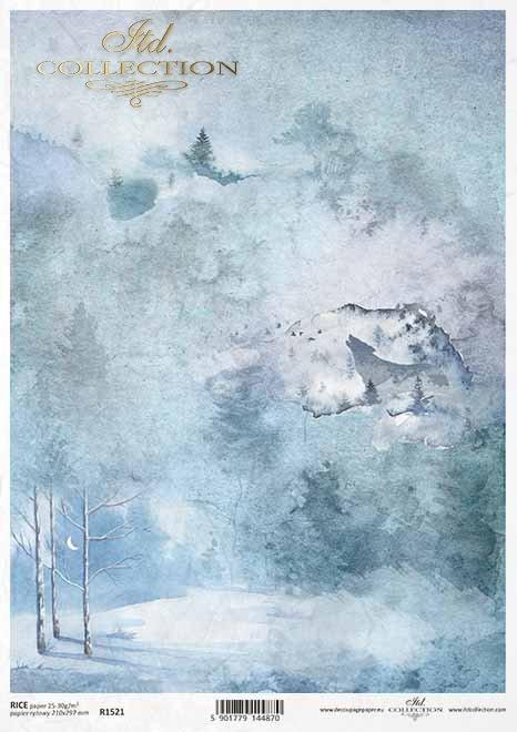 Papel decoupage de invierno, collage de bosque, bosque nocturno, lobo*Winter Decoupagepapier, Waldcollage, Nachtwald, Wolf*Зимняя бумага для декупажа, лесной коллаж, ночной лес, волк