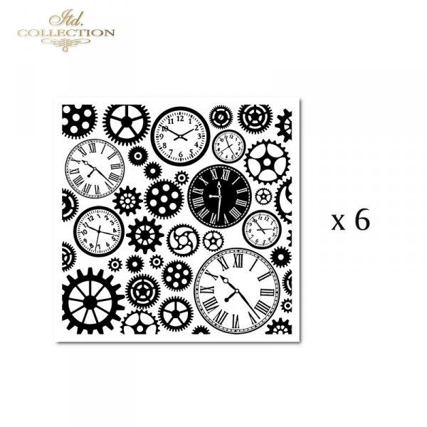 Zestaw 6 papierów specjalnych do mix media, scrapbookingu - Steampunk, zęnatki, trybiki, zegary, cyferblaty