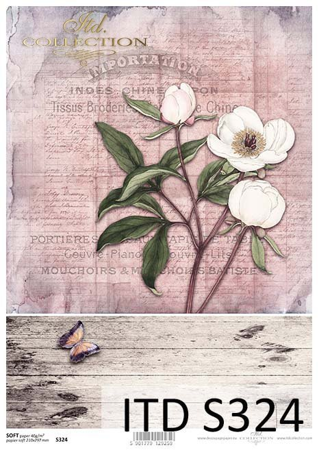 papier decoupage z kwiatami*decoupage paper with flowers