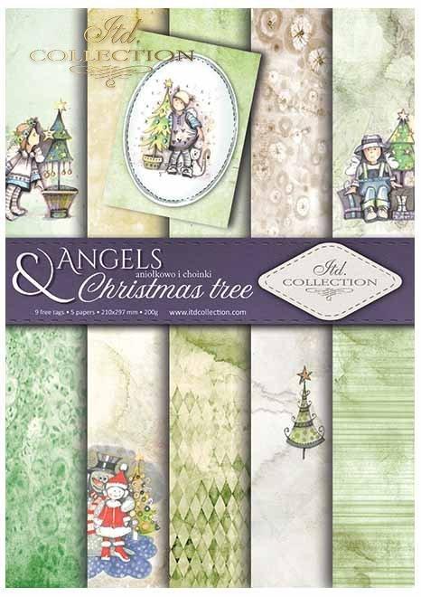 Papiery do scrapbookingu w zestawach - Aniołki i choinki*Scrapbooking papers in sets - Angels and Christmas trees