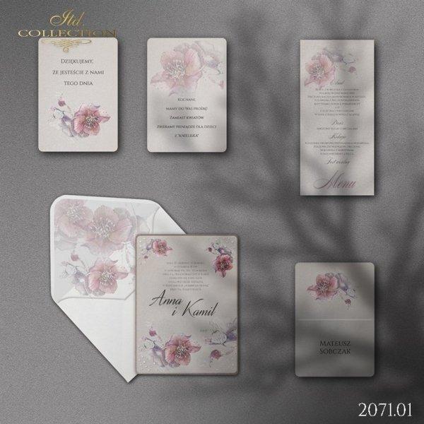 Zaproszenie 2071*Zaproszenia ślubne * menu * winietka * koperta z wklejką - wersja 1