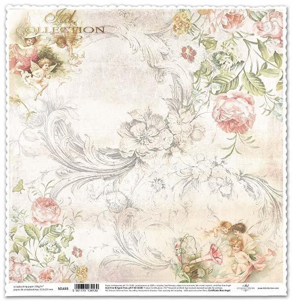 papel para álbum de recortes, ángeles, flores, rosas*бумага для скрапбукинга, ангелочки, цветы, розы*Papier für das Scrapbooking, Engel, Blumen, Rosen