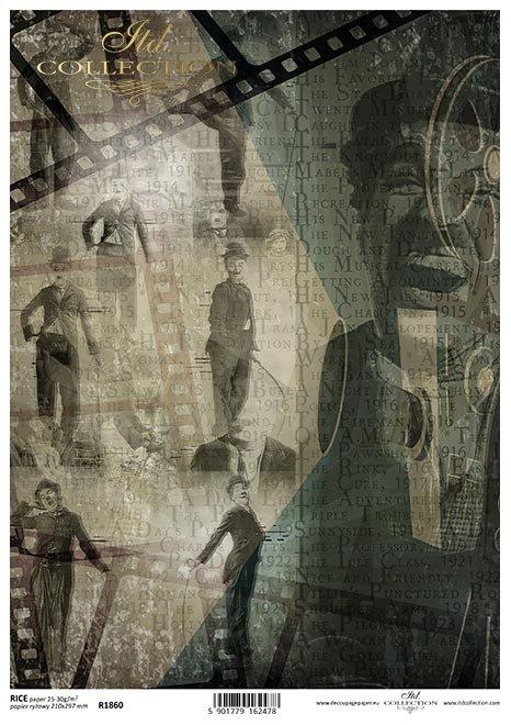 Magia kina, Charlie Chaplin, pozy, napisy, filmografia, klisze, kolaż*Cinema magic, Charlie Chaplin, poses, credits, filmography, clichés, collage*Filmzauber, Charlie Chaplin, Posen, Abspann, Filmografie, Klischees, Collage*La magia del cine, Charlie Chap
