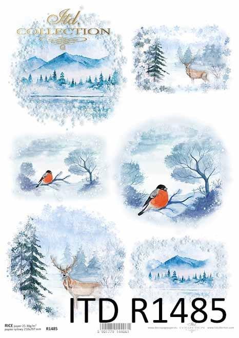 zimowe widoczki, góry, jelonki, ptaszki*winter views, mountains, fawns, birds