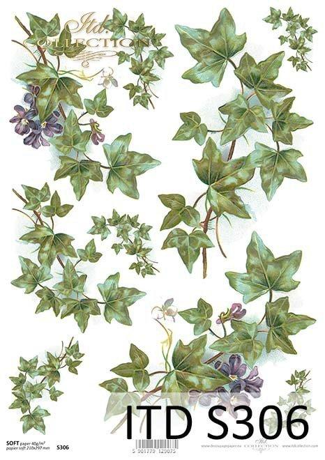papier decoupage bluszcz, fiołki*paper decoupage ivy, violets