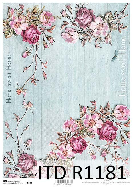 papier decoupage kwiaty, Home Sweet Home*Paper decoupage flowers, Home Sweet Home