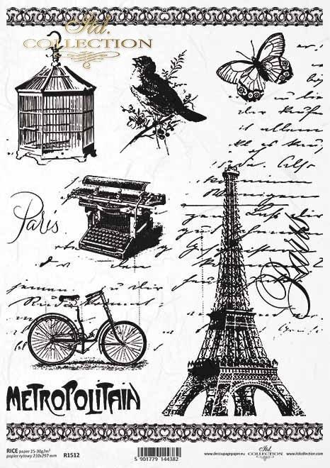 Papel de arroz vintage, bicicleta, torre Eiffel, máquina de escribir, decorados, jaula de pájaros*Vintage Reispapier, Fahrrad, Eiffelturm, Schreibmaschine, Dekore, Vogelkäfig*Винтажная рисовая бумага, велосипед, Эйфелева башня, пишущая машинка, декоры, кл