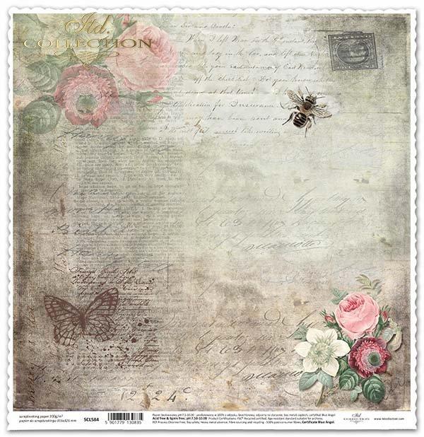 Papír na scrapbooking - květiny, včelí*Papel para álbum de recortes - flores, abeja*Papier für das Scrapbooking - Blumen, Biene