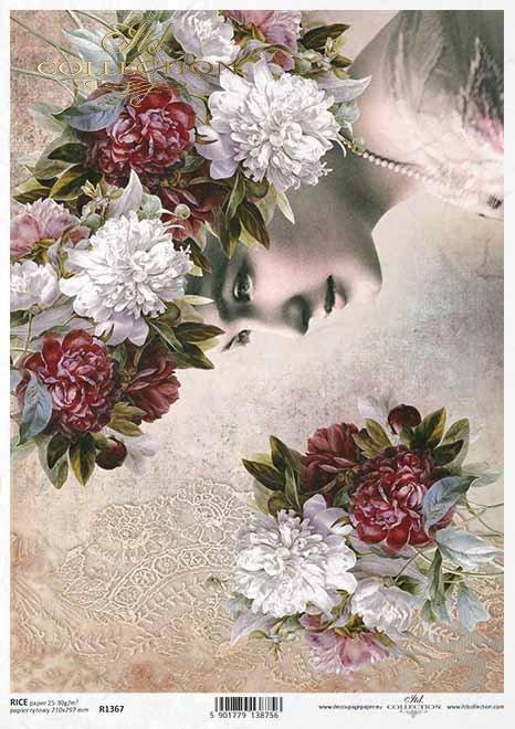 Reispapier-Decoupageblumen, Pfingstrosen, das Gesicht der Frau*Papel de arroz decoupage flores, peonías, cara de mujer*Рисовая бумага декупаж цветы, пионы, женское лицо