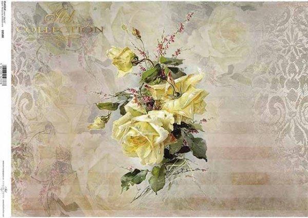 Papier Decoupage Blumen, gelbe Rose*flores de papel decoupage, rosa amarilla*бумага декупаж цветы, желтая роза
