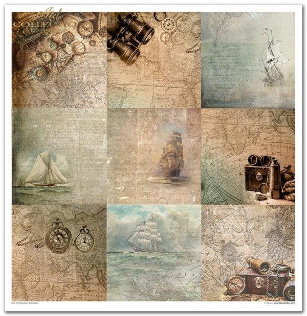 Kolekcja 'Morska ekspedycja', żaglowiec, statek, stara mapa, lornetka, kompas, podróże, wyprawy, wycieczki, latarnia morska, kotwica, sieć, ryba, konik morski