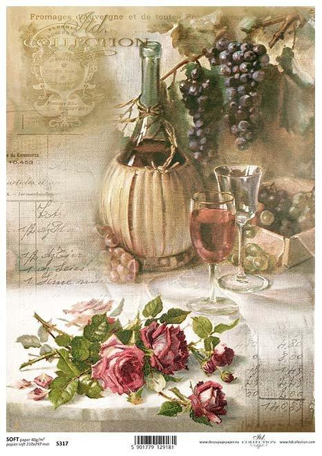 uvas papel decoupage, rosas*Papír Decoupage hrozny, růže*Papier decoupage Trauben, Rosen